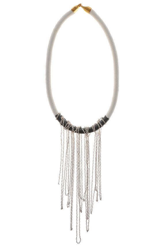 Statement Necklace with Enamel  Coated Rope and by EleannaKatsira, €39.00