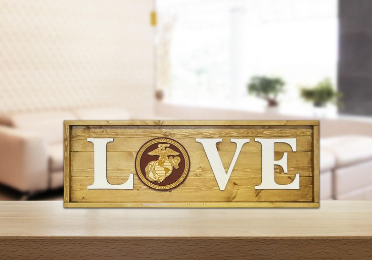 Wooden USMC Love 3D Sign, Military Wall Decor, Marine Corps Plaque by ExclusivelyYourLLC on Etsy