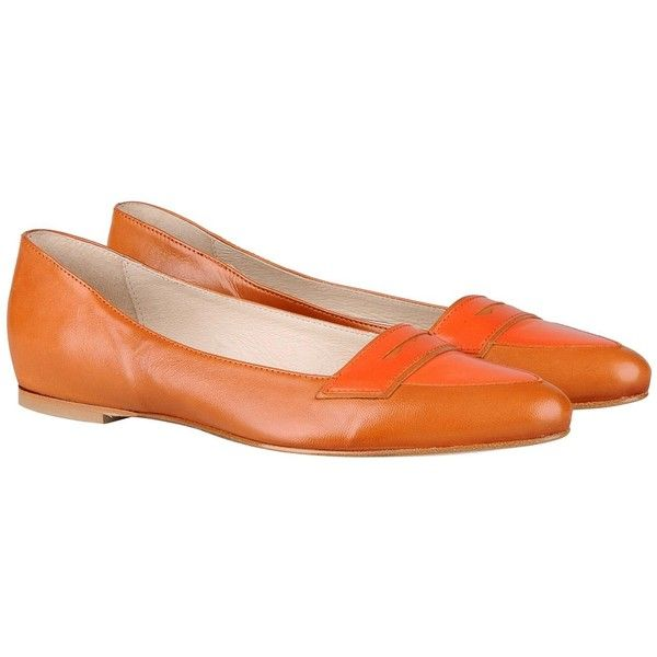 Leonardo Principi Ballet Flats ($142) ❤ liked on Polyvore featuring shoes, flats, orange, leather flats, ballet flats, leather sole shoes, ballerina shoes and ballet flat shoes