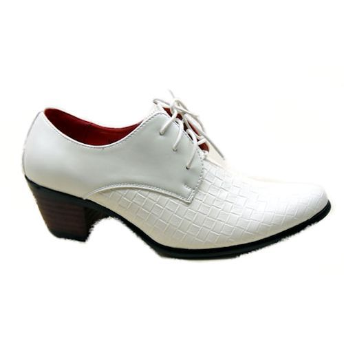 Men White Leather High Heel Lace up Wedding Prom Dress Shoes for Sale SKU-1100094