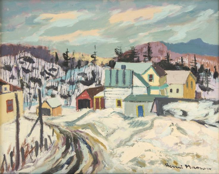 Henri Leopold Masson  Canadian (1907-1996)  st. andre atelin, que.  oil on canvas  signed lower right and titled on verso  20 x 16 in. (50.8 x 40.6 cm)  Estimate $ 3,000-4,000 Maynards Industries - Fine Art & Antiques Auction: May 6 2015 11:00 AM  www.maynardsfineart.com