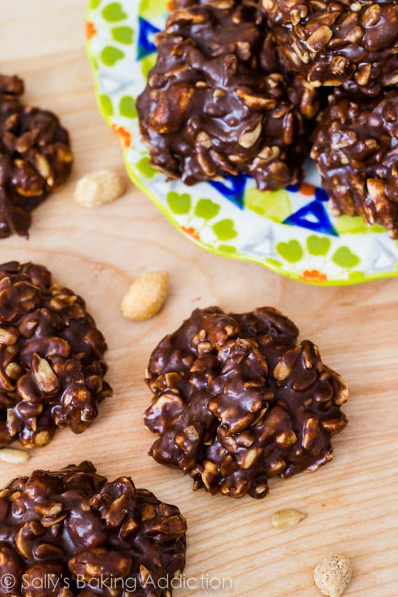 Gluten Free Fudge No-Bake Cookies by sallysbakingaddiction.com (Click on the picture then scroll all way down page to find recipe)