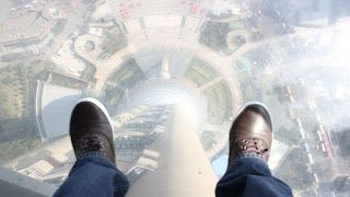 Glass floor in the Pearl TV Tower, Shanghai, China.