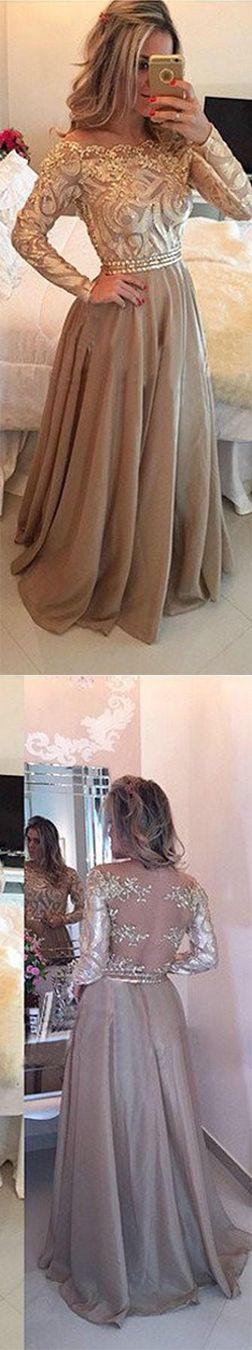 Champagne Prom Dresses, Beading Prom Dresses, Lace Dresses, Long Sleeves Prom Dress, A line Formal Dresses, Prom Dress