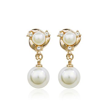 Allencoco горячее надувательство Elagant двойные жемчужные серьги, красивая падение уха клип для женщин