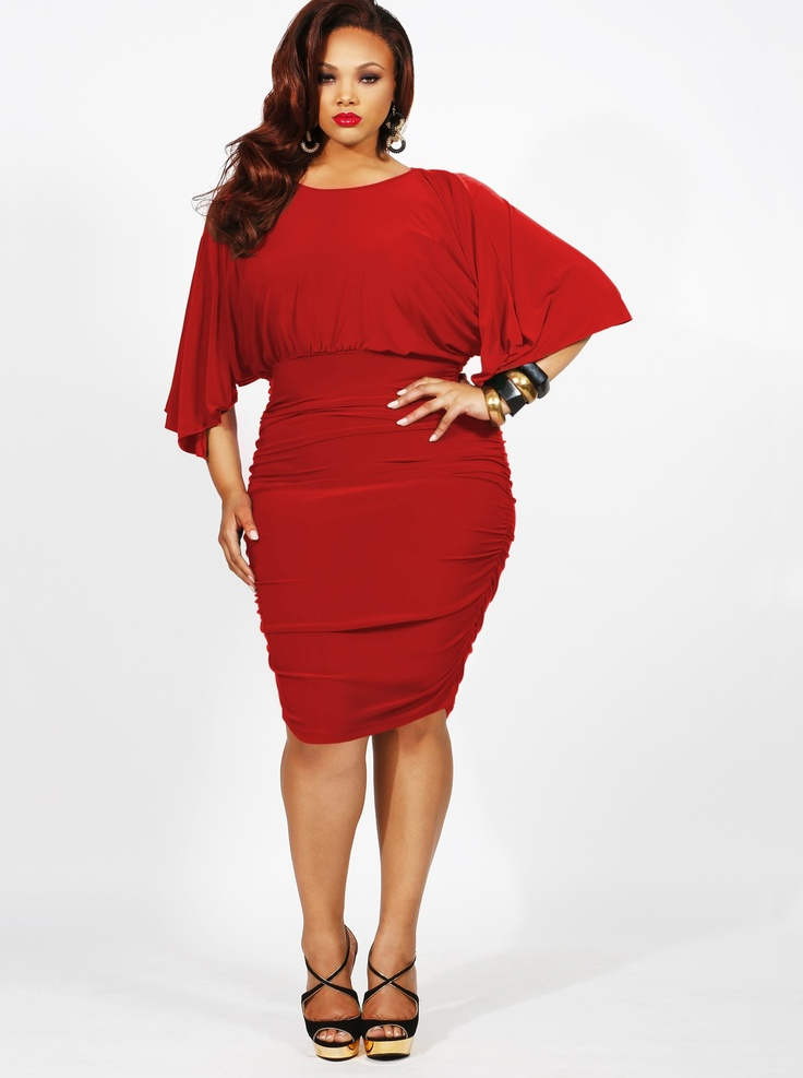 """""""Gia"""" Batwing Ruched Dress-Red - Clothing - Monif C"""