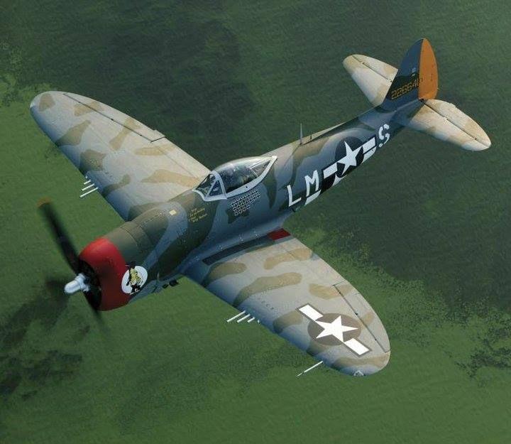 Le Republic P-47 Thunderbolt fut l'un des chasseurs américains les plus importants de la 2e Guerre mondiale et l'un des avions les plus produits de tous les temps avec plus de 15 000 exemplaires construits. Il excellait dans les missions d'appui-feu des troupes au sol, qui devinrent rapidement son rôle principal. En effet, ses performances seulement convenables comme chasseur ne lui permettaient pas de rivaliser avec l'autre chasseur américain P-51 Mustang. Wiki