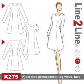 Kjole med prinsessesnit og vidde, fast