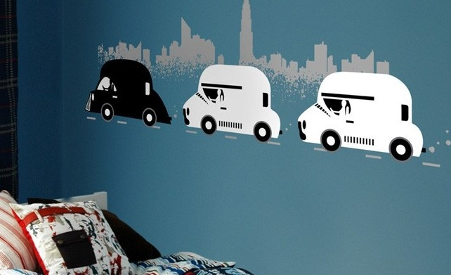 Star Wars decals!The Roads, Kids Stuff, Stars Cars, Wall Decalson, Interiors Design, Star Wars, Graphics Design, Stars Wars Room, Awesome Wall