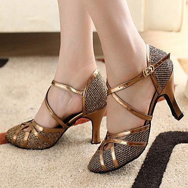 Customizable Women's Dance Shoes Modern/Ballroom Sparkling Glitter Customized Heel Gold – GBP £ 17.67