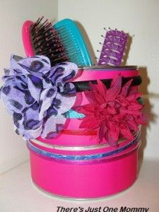 making a hair accessories organizer from the recyclables bin from There's Just One Mommy