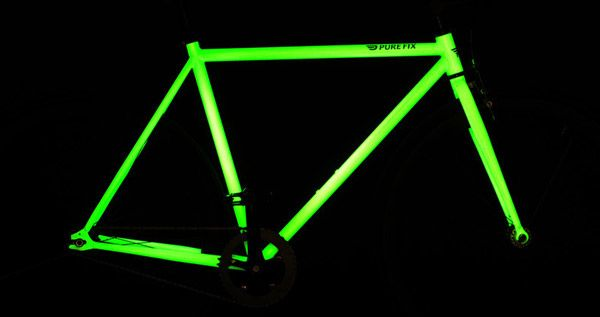GlowintheDark Bike. Hey, you could paint your bike with glow-in-the-dark paint yourself. Cool!
