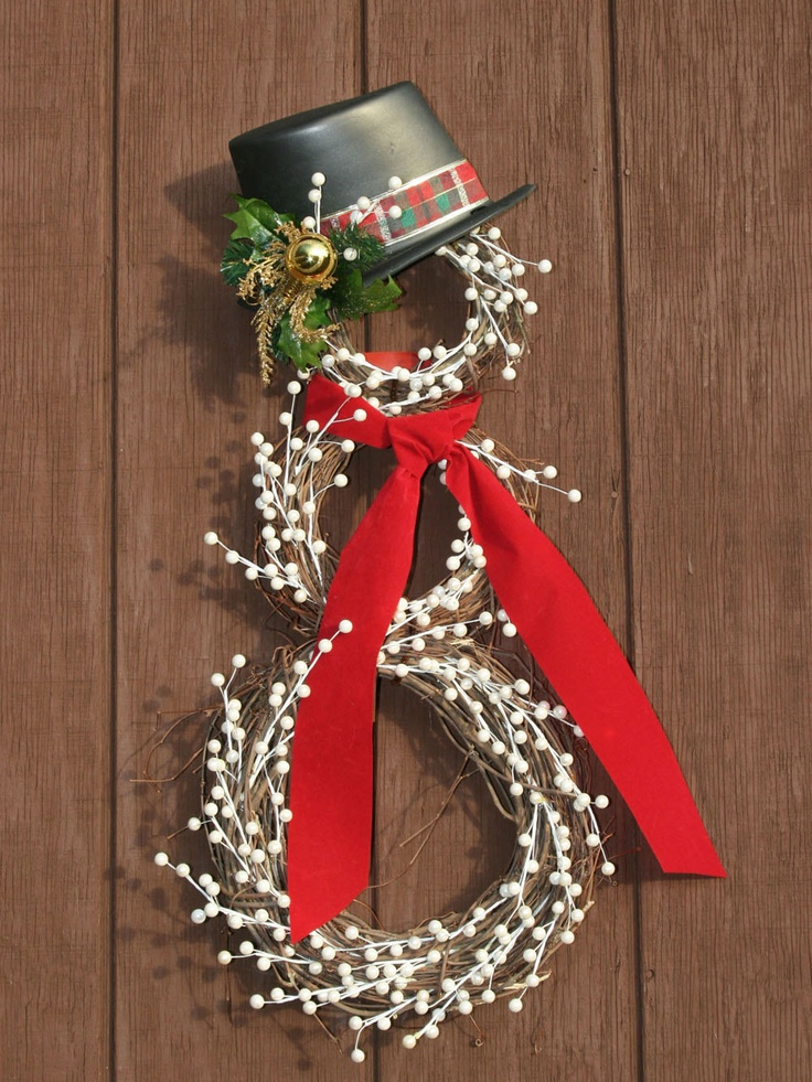 Snowman Christmas Wreath. $65.00, via Etsy.