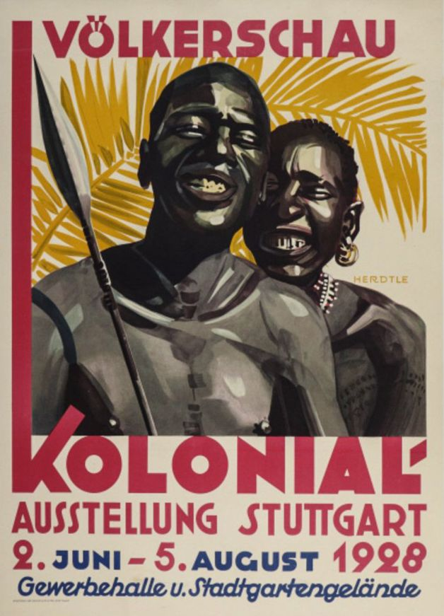 """Pôster de uma dessas """"exibições"""" em zoológicos humanos na Alemanha, em 1928"""