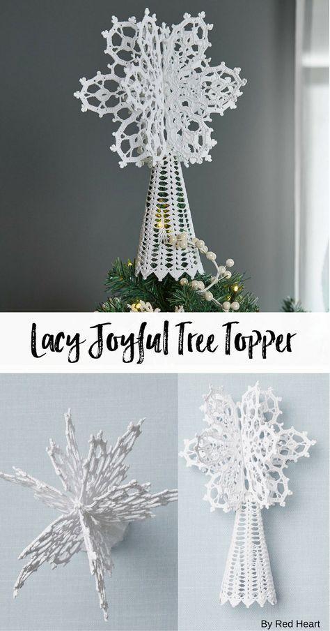 Lacy Joyful Tree Topper free crochet pattern in Aunt Lydia's Crochet Thread.