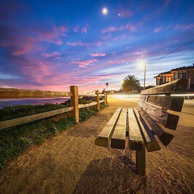 Inviting little scene in Pleasure Point, wouldn't you say...😍 Photo 📷 | @patdurr  #VisitSantaCruz #SantaCruzNow #SantaCruz #VisitCalifornia #TheOriginalRoadTrip #Surfing #Surf #Eastside #SantaCruzCounty #MontereyBay #PleasurePoint #PleasurePointSunset #Bench #Moon #EmptyBench #WishYouWereHere #montereybaylocals - posted by Visit Santa Cruz County https://www.instagram.com/visitsantacruz - See more of Monterey Bay at http://montereybaylocals.com