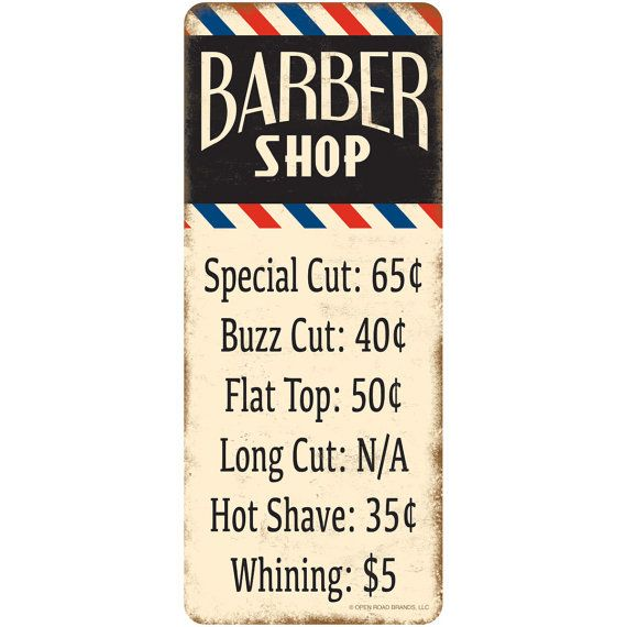 Barber Shop Haircut Prices Wall Decal 52287 by RetroPlanetUSA