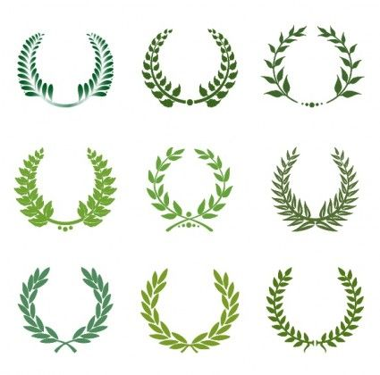 Green laurel wreath set