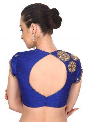 Blue blouse adorn in kundan and zardosi embroidery only on Kalki