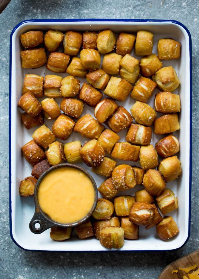 Homemade Soft Pretzel Bites Recipe on twopeasandtheirpod.com These are the BEST pretzel bites and they are SO easy to make at home!
