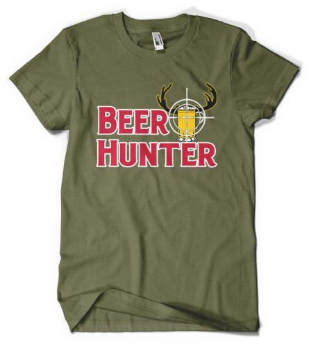 (Cybertela) Beer Hunter Mens T-shirt Funny Drinking Tee (Olive Green, Large)