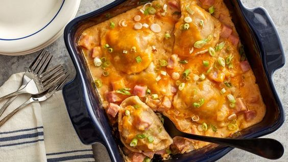 Pierogi—hearty, potato-stuffed Polish dumplings—are the heart of this easy casserole. Start with frozen pierogi, then add cubed ham and a deliciously simple onion-cheese sauce for a weeknight bake that brings some wow to the table.