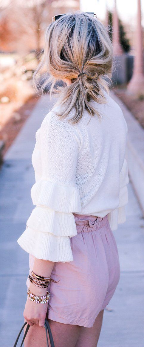 #spring #outfits /  White Knit / Pink Short