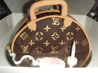 Brown & Gold Louis Vuitton bag cake www.sucrecakes.com.au