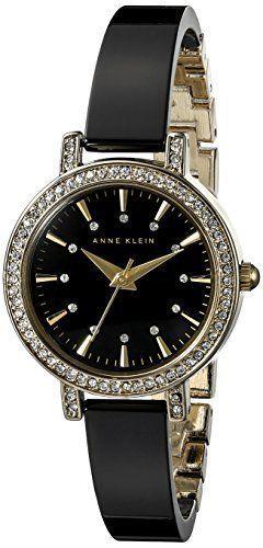 Montre pour femme : Anne Klein Womens AK2180BKGB GoldTone and Black Ceramic Bangle Watch >>&gt