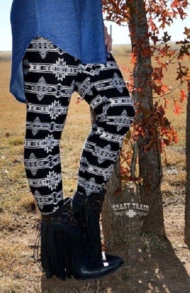 Crazy Train Arizona Aztec Black Leggings Plus Size 2XL Southwestern  #CrazyTrain