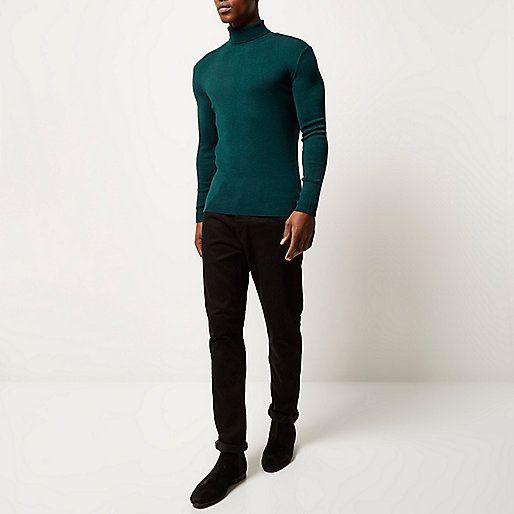 Pull vert sarcelle à col roulé et manches longues - pulls/cardigans - Promos - Homme