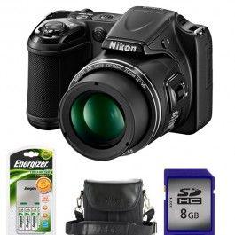 Camera foto digitala NIKON L820, 16 Mp, 30x, 3 inch, negru + geanta + incarcator + card SD 8GB
