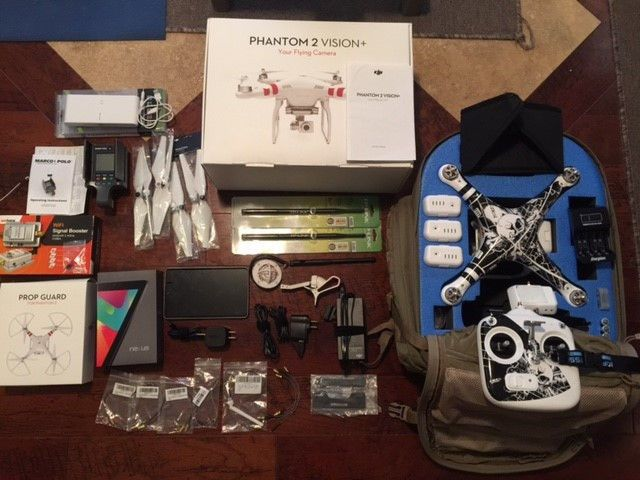 UNRESTRICTED - DJI Phantom 2 Vision  Plus w/4 Batteries and lots of upgrades