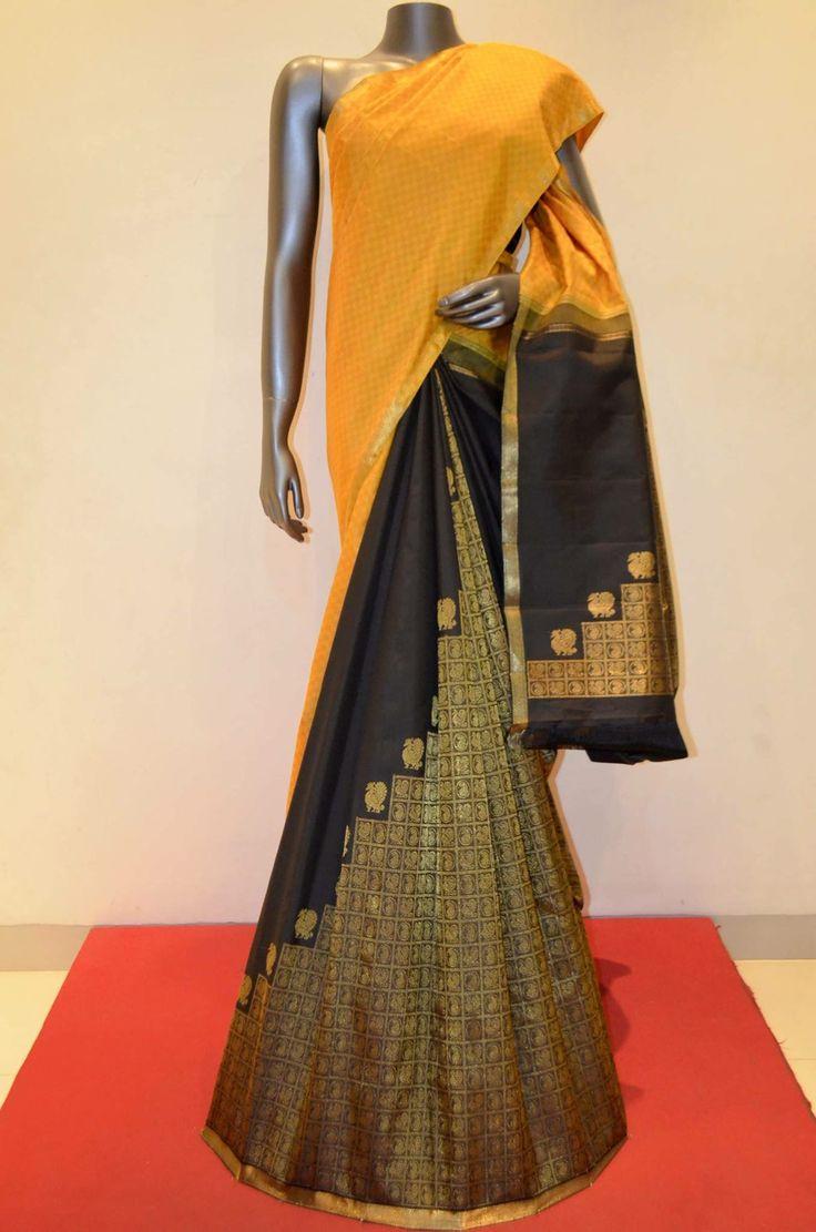Jyothika traditional sari at shobi wedding saree blouse patterns - Exquisite Yellow And Black Grand Special Patli Kanjeevaram Silk Saree Product Code
