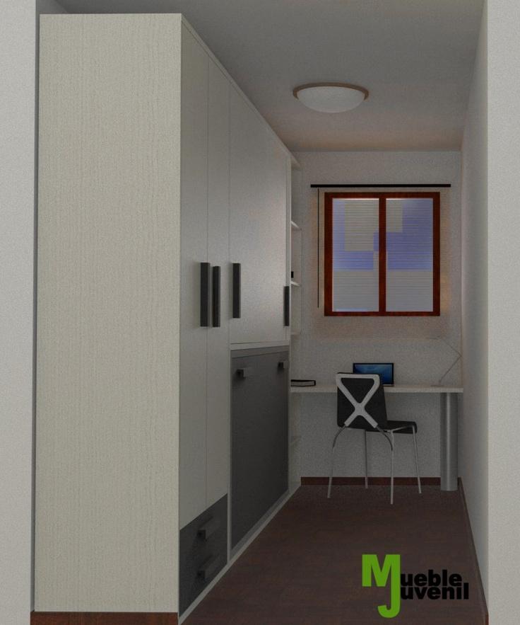 Dise o 3d soluci n para habitaci n juvenil con poco for Mueble juvenil diseno