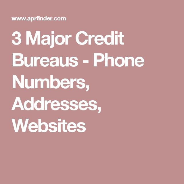 3 Major Credit Bureaus - Phone Numbers, Addresses, Websites