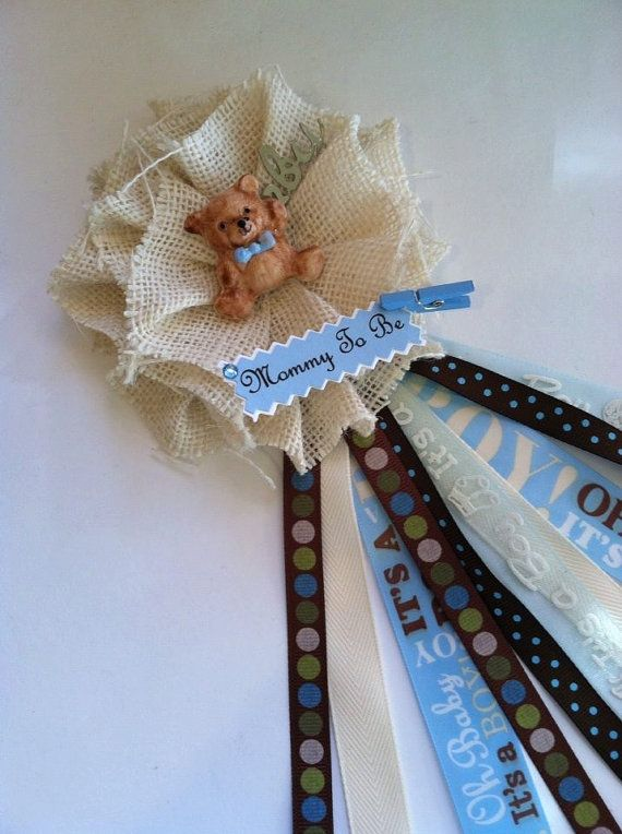 terry bears mommy to be baby shower corsage white burlap its a boy mommy to be corsage blue u0026 white corsage