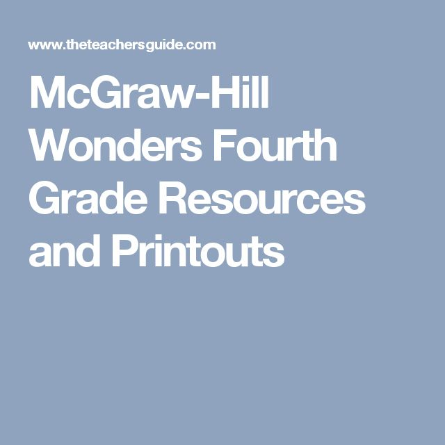 McGraw-Hill Wonders Fourth Grade Resources and Printouts
