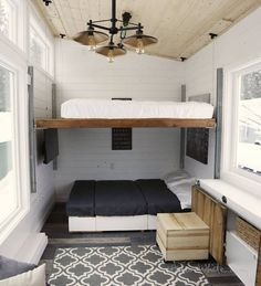 Bed lofted above another sofa/bed
