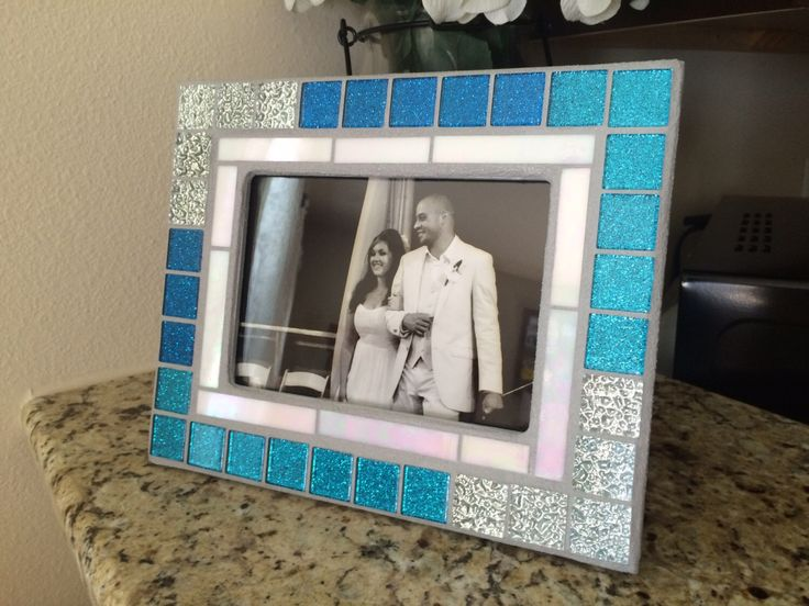 stained glass mosaic mirror or picture frame blue and silver home decor - Etsy Picture Frames