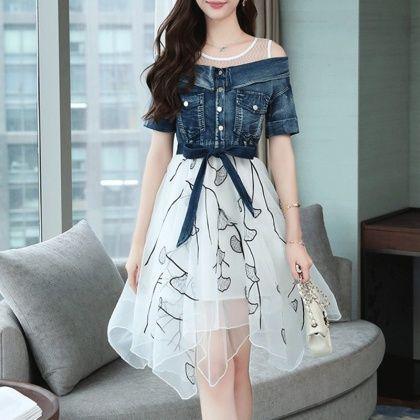abclosetデートワンピース不規則スリム偽二枚プリント半袖ラウンドネックドレス pakaian gadis gaya model pakaian pakaian wanita