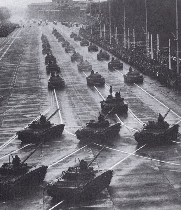 """partisan1943: """" Column of T-72 tanks of the Hungarian People`s Army on a military parade. """""""