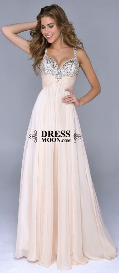 2015 prom dress, sweetheart V Neckline Beaded chiffon evening dress