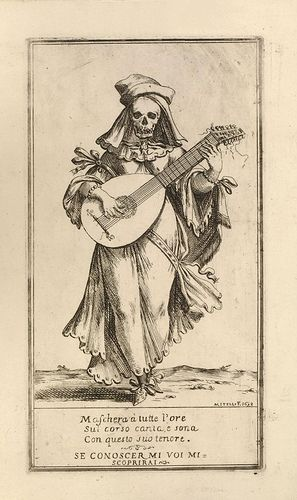 'Se conoscer mi voi mi scoprirai'  A beautiful woman playing a guitar; a flap  lifts to reveal a skulll beneath the head. 1698