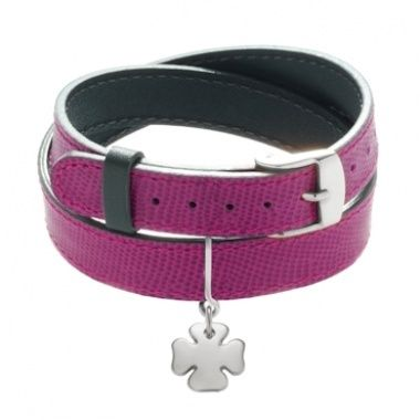 Large double leather bracelet, two-side fuchsia/grey with a cloverleaf pendant http://lilou.fr/fr/ensembles_confectionnes/ #lilou #bracelet #leather #clover #jewellery