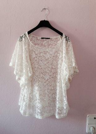 Kaufe meinen Artikel bei #Kleiderkreisel http://www.kleiderkreisel.de/damenmode/kurzarmlig/128319934-cremeweiss-spitzenshirt-transparent-spitze-sommer-top-bluse-weiss