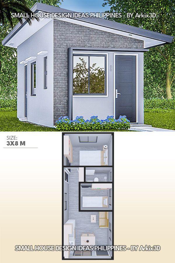 Small House Design Ideas 3x8 Meters No5 Tiny House Design Small House Design House Construction Plan