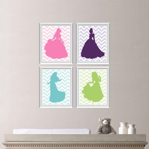 Disney Nursery Wall Decor : Baby girl nursery print art chevron princess