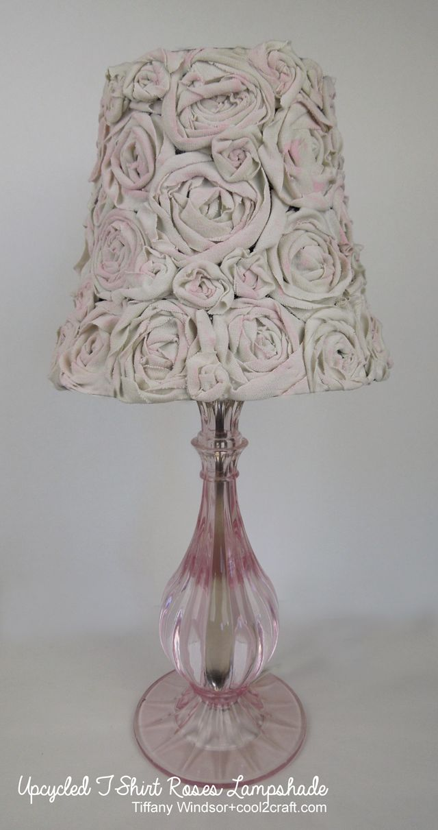 T-shirt strips can easily be transformed into fabulously feminine rolled roses. Decorate a lampshade, pillow or wall art!