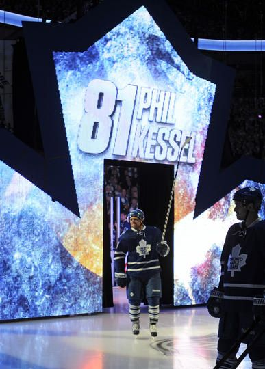 TORONTO, ON - OCTOBER 5: Phil Kessel #81 of the Toronto Maple Leafs takes part in on-ice ceremonies prior to action against the Ottawa Senators October 5, 2013 in the home opener at Air Canada Centre in Toronto, Ontario, Canada.